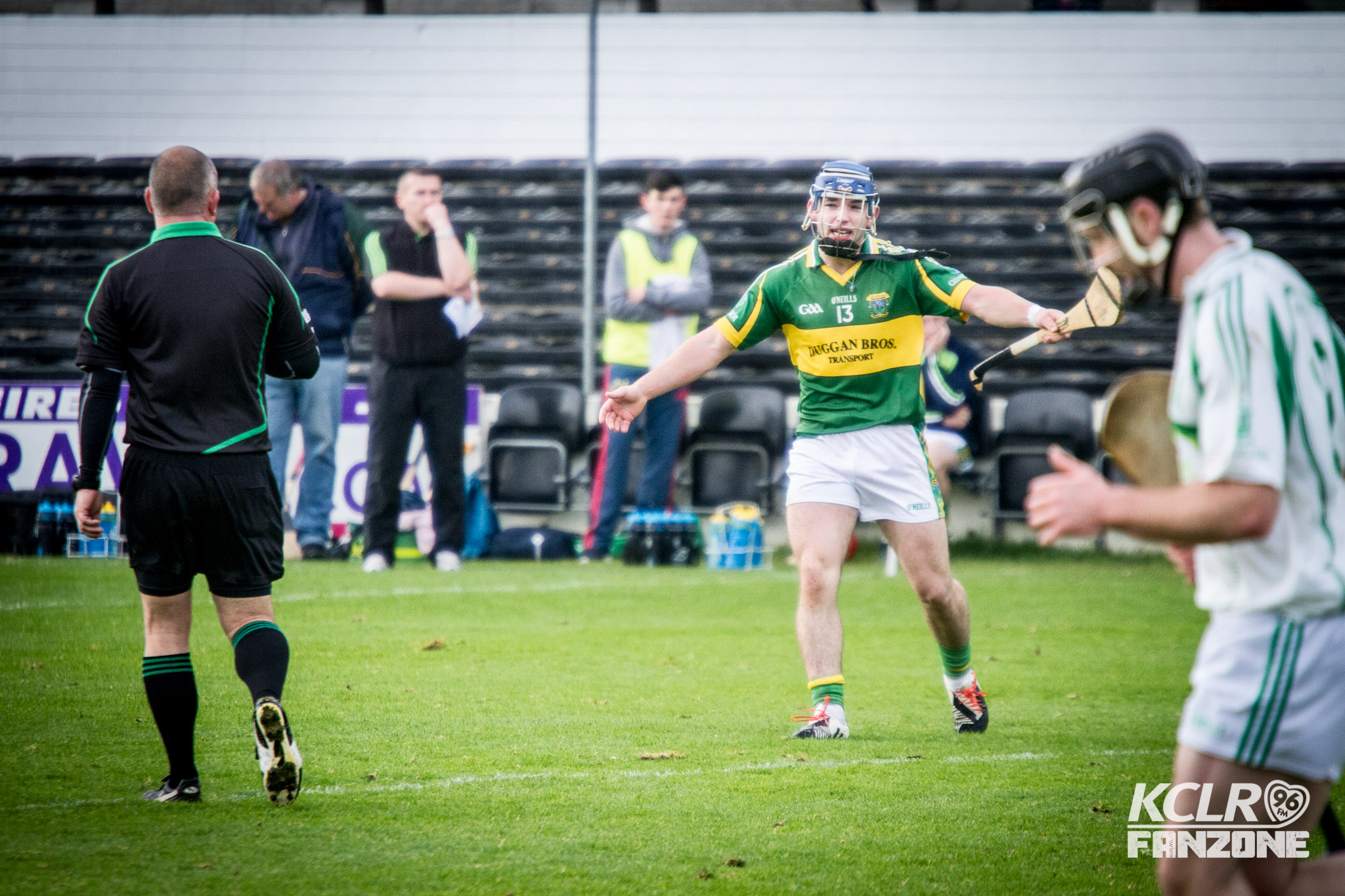 Glenmore captain Ger Aylward remonstrates with referee Eugene Ryan during the 2015 Junior Hurling Championship Final at Nowlan Park, 25 October 2015. Photo: Ken McGuire/KCLR