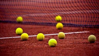 Tennis balls on a court. File photo.