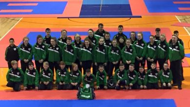 Team Ireland pictured in Slovenia at the World Karate Championship for Cadets & Juniors in Maribor, Slovenia, November 2015. Photo: Ballon Karate Club