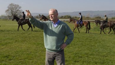 Horse Trainer Legend Willie Mullins giving instructions to his jockeys as the ride out in his stables at Closutton Bagenalstown Co. Carlow. Photo:Thomas Nolan.