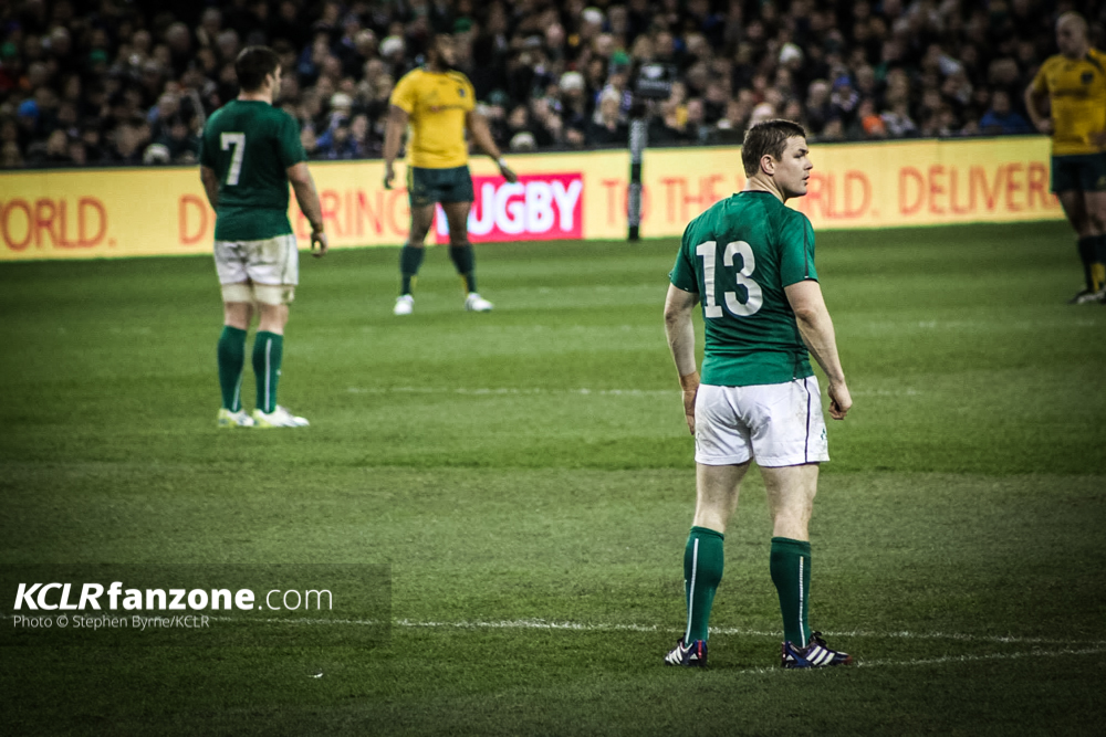 Sean O Brien and Brian O Driscoll playing for Ireland. Pic - Stephen Byrne/KCLR