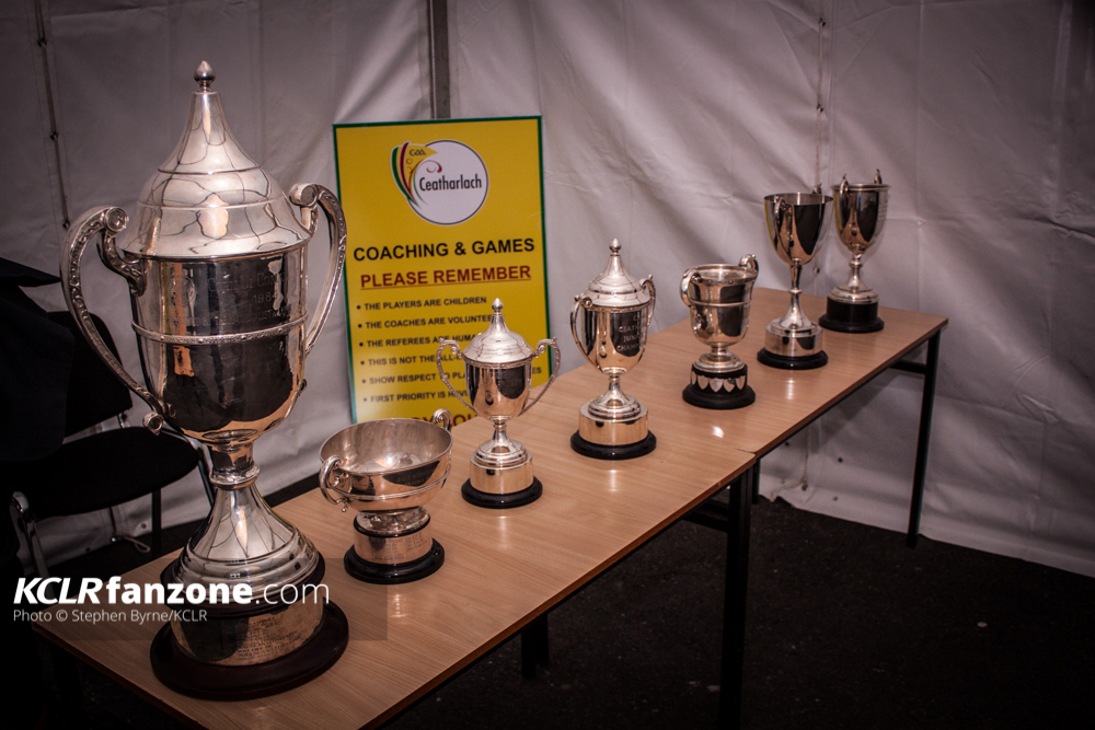 Carlow GAA Cups. Pic: Stephen Byrne/KCLR