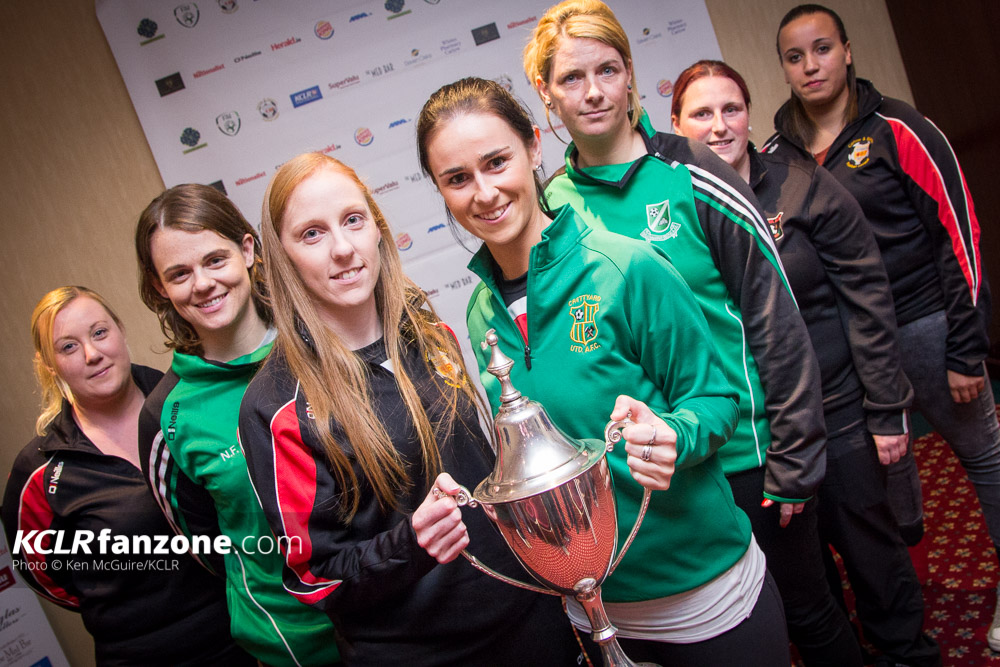 Sarah Purcell (left) and Aisling Behan (right) lead the title charge at the Carlow Soccer League launch. Photo: Ken McGuire/KCLR