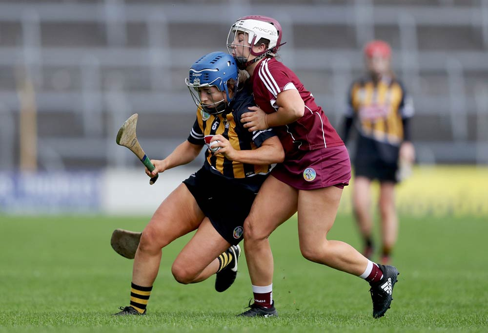 Kilkenny camogie's Meighan Farrell with Dervla Higgins of Galway. Mandatory Credit ©INPHO/Tommy Dickson