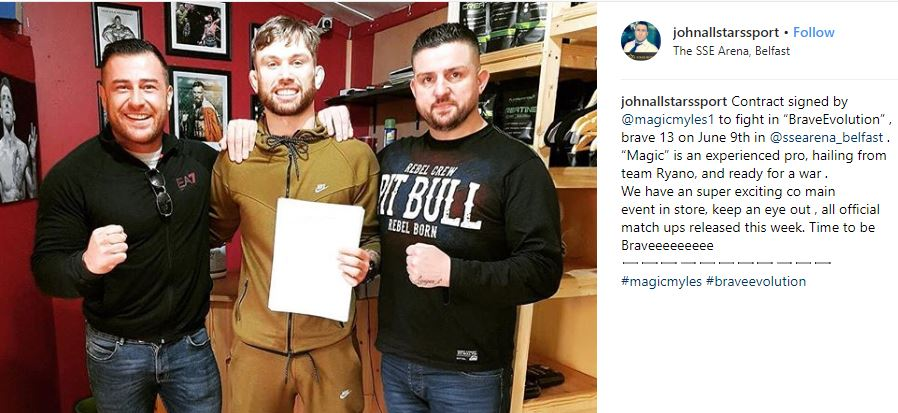 Myles Price signs contract for Brave Combat Federation 13. Photo: johnallstarssport/Instagram
