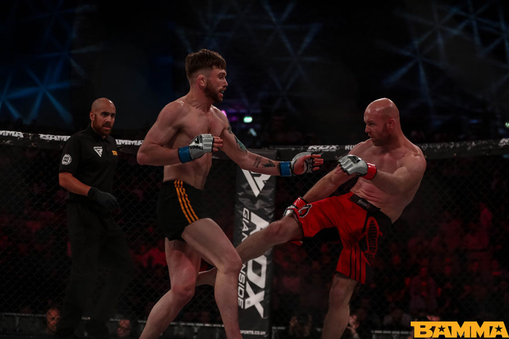 Myles Price v Phil Raeburn at BAMMA 35. Photo © BAMMA