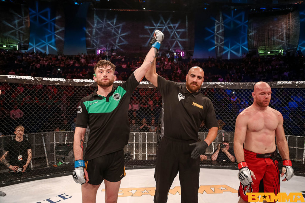 Myles Price gets his hand raised at BAMMA 35. Photo © BAMMA