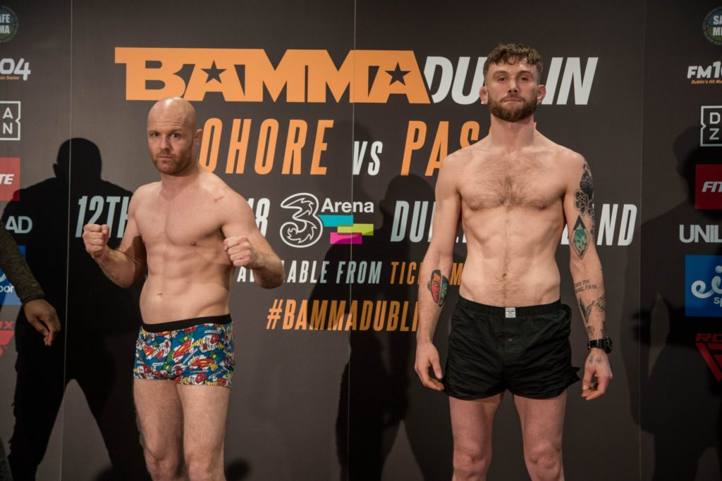 Phil Raeburn (SBG Concorde) and Myles Price (Team Ryano) at the BAMMA 35 weigh-ins, Green Isle Hotel, 11/5/18. Photo © BAMMA