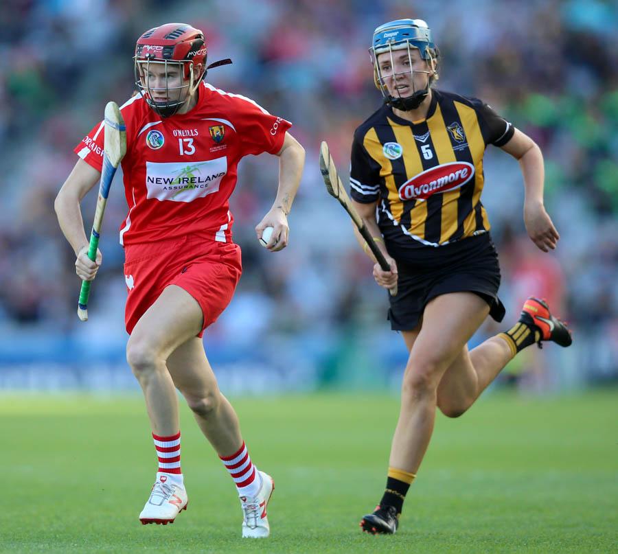 Kilkenny's Claire Phelan with Katrina Mackey of Cork Mandatory Credit ©INPHO/Tommy Dickson
