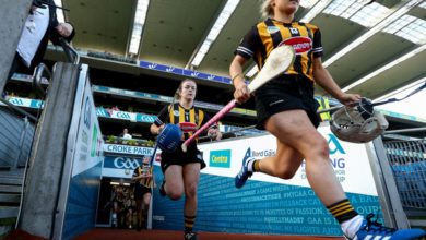 Kilkenny's goalkeeper Emma Kavanagh and Shelly Farrell take to the pitch Mandatory Credit ©INPHO/James Crombie
