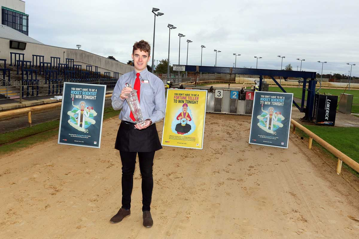 """""""Paul Maher, of the Tote in Limerick Greyhound Stadium, with the commemorative trophy that the winner of the Barking Buzz App St Leger will receive. Pic: Brendan Gleeson"""""""