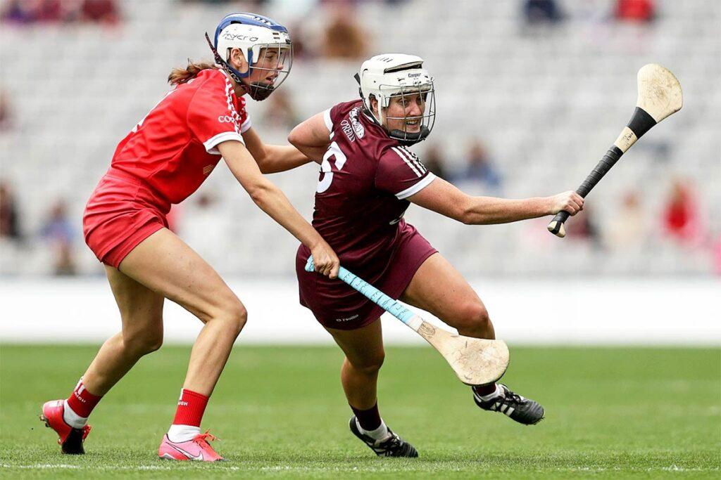 Galway's Ailish O'Reilly and Meabh Cahalane of Cork Mandatory Credit ©INPHO/Laszlo Geczo