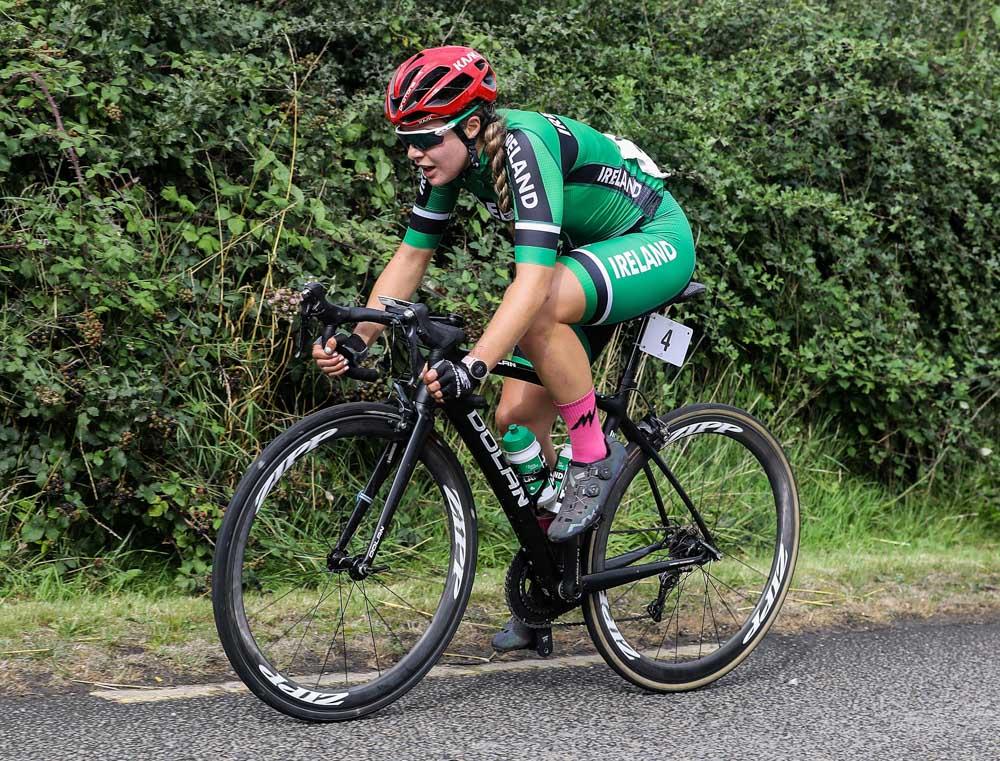Irelands Fiona Mangan makes an early breakaway on Stage 2 of Rás na mBan 2021. Photo : Lorraine O'Sullivan